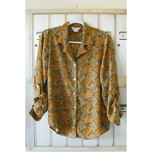 Vintage Button Up Blouse Shirt with pattern